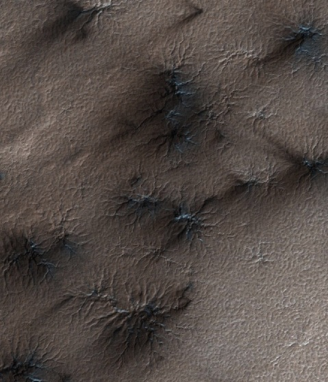 HiRISE image is ~1 km across. Spiders and fans are visible.