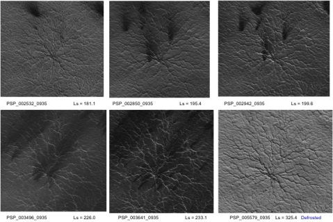 Timelapse sequence of a spider initially covered with ~1m of ice (upper left), to ice-free (lower right).