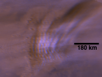 Nearly linear gravity waves near 45 degrees north late in Mars's northern autumn. This Mars Orbiter Camera Daily Global Map is freely available to download at http://marsclimatecenter.com/data/mocbrowse/.