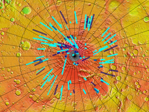CTX coverage with MOLA elevation map (Courtesy of JMARS ) Blue = coverage of new images just uploaded Cyan = locations of previous images classified