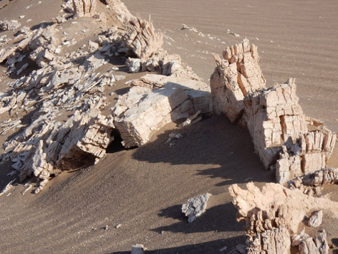 A close-up of a Lut Desert gypsum ridge